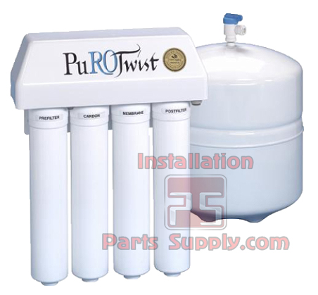 PuroTwist, PT4000, 150 GPD, TFC, Q-Series,  Non-Air Gap, Reverse Osmosis System includes Tank, Faucet, installation guide and supplies