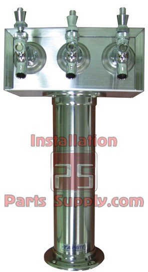 3 Faucet T-Tower Polished Stainless, Glycol Ready - Taprite