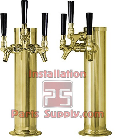 "3"" Diameter 3 Faucet Beer Draft Arm/Column Tower Polished Brass"