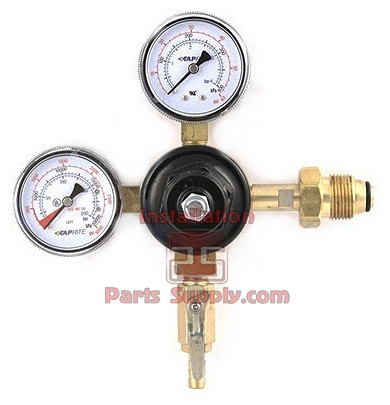 "Primary Beer N2 Regulator Taprite, 1P1P, CGA580 Inlet, 5/16"" Barb Shut-off w/Chk, 60#&3000# Gauge,0-50psi-Tank Mount"