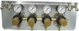 "Secondary Beer CO2 Regulator, 4P4P,  Mounted on 8.5"" x 21"" Panel, w/4 Beer Y's,  5/16"" Barb Inlet, 5/16"" Barb Shut-off, 60# Gauges"