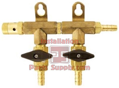 "2 way Air Distribution Manifold Taprite 3/8"" Barb x 5/16"" Barb Valve w/ Safety"