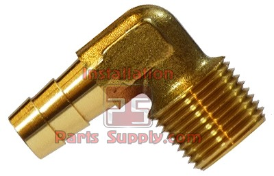 "3/8""x1/4"" Hose Barb x MPT Forged Lead Free Brass 90° Elbow"