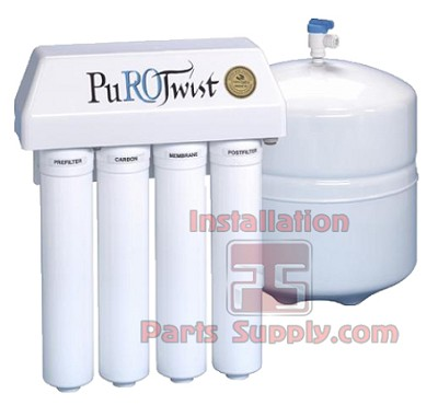 PuroTwist, PT4000, 50 GPD, TFC, Q-Series,  Non-Air Gap, Reverse Osmosis System includes Tank, Faucet, installation guide and supplies.