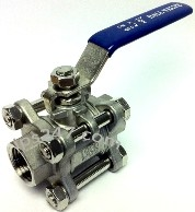 "1/2"" FPT 3-Piece Full Port Ball Valve 304SS"
