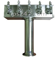 T Tower, 5 Product, Stainless Steel Finish, Glycol Cooled