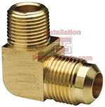3/8 x 1/8 Bar Stock Flare x MPT Brass Elbow 90° E1-6A