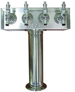 4 Tap T-Tower, Wine Tower, Polished Stainless Steel, 304SS Faucets and 304SS Shanks  Air Cooled Taprite Wine Tower