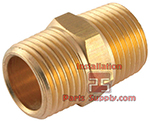 1/4 x 1/4 Brass Pipe Hex Nipple MPT | 122A-B