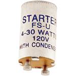 Universal Fluorescent Starter for 4W-30W Lamps 120 Volts, Turn and Lock Base, Aluminum Cap, UL