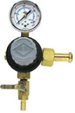 Primary CO2 Regulator Beer 1P1P, CGA320 Inlet, 5/16 Barb Shut-Off w/ Check valve, 60# Gauge Tank Mount Taprite T741