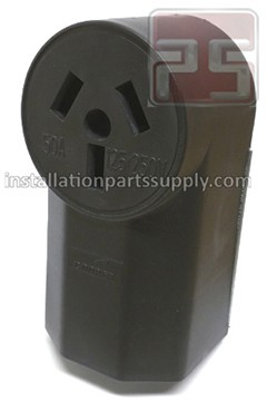 50A-125/250V 3-Pole, 3-Wire, Surface Mount Range Power Outlet  Receptacle Cooper 112BK