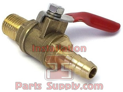 "5/16"" Barb x 1/4"" MPT Shut-Off Valve Brass w/ Internal Check"