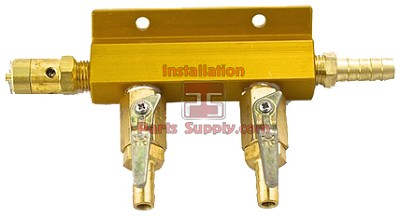 2way Alum Air Dist.3/8bx5/16barb valve w/Safety