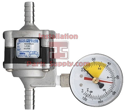"65 PSI [4.5 BAR], Water Pressure Reducer Valve, 3/8"" [10 mm] Barb Stainless Steel Fittings, Body  & Pressure Gauge with Follower"