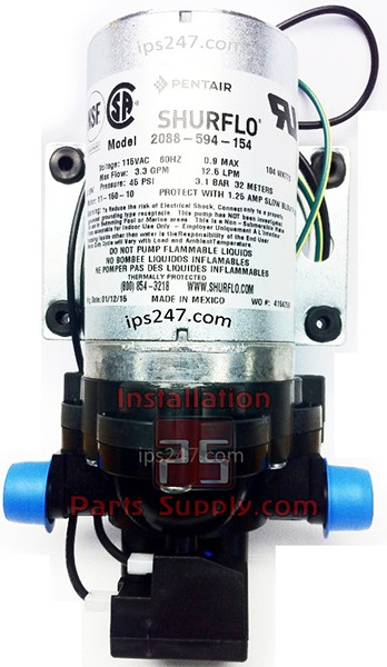 "2088-594-154, Shurflo Demand Delivery water pump 115 VAC 45 PSI shutoff 3.3 GPM open flow 1/2"" mpt no Cord"