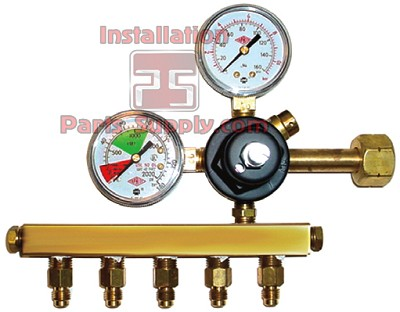 Primary Soda CO2 Regulator, 1P5P, CGA320 Inlet, 1/4 Flare Out w/Ck, 160# & 2000# Gaugesx2-Tank Mount