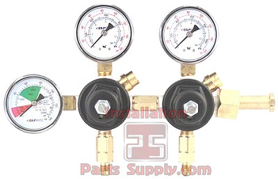 Primary Soda CO2 Regulator, 2P2P, CGA320 Inlet, 1/4 Flare Out w/Ck, 160# & 2000# Gaugesx3-Tank Mount