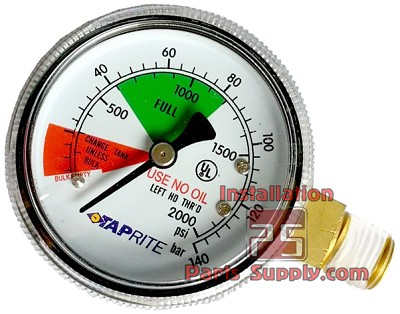 "0-2000psi, 1/4"" MPT, LHT, Side Mount Pressure Gauge Taprite 6603-2000"