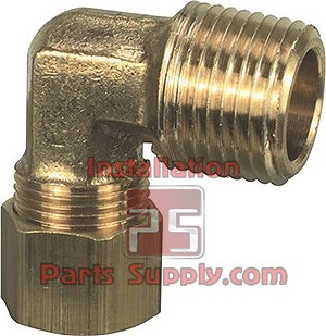 "3/8""x1/2"" Compression x MPT 90° Elbow Connector Lead Free Brass 
