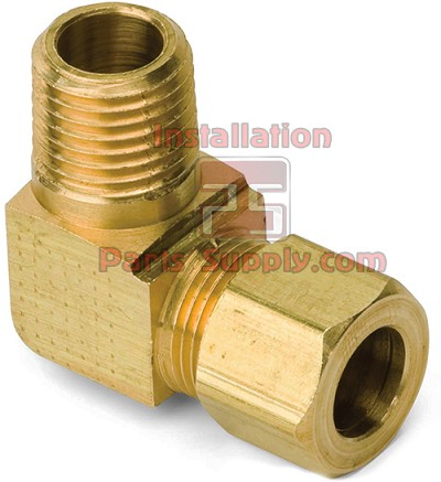 "3/8""x1/4"" Compression x MPT 90° Elbow Connector Bar Stock Brass 