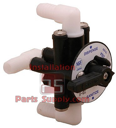 "SF 3-Way Sanitizing Valve 3/8"" Barb Elbow Fittings"