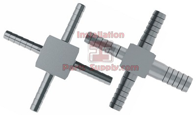 "1/4"" (3) x 3/8"" Reducing Barb Cross 303SS"