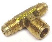 "1/4""x1/4""x1/4"" Flare x Flare x MPT Branch Tee Forged Brass"