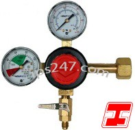 "Primary Beer CO2 Regulator, 1P1P, High Performance, CGA320 Inlet, 1/4"" Flare Shut-Off w/Ck, 60#/2000# Gauges"