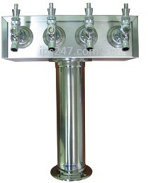 4 Tap T-Tower, Polished Stainless Steel, Chrome Faucets and Shanks  Air Cooled Taprite