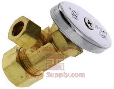 "5/8"" Comp (1/2"" Nom) x 1/2"" Comp or 7/16"" Slip-Joint Chrome Single AngleStop Iron Pipe Valve"
