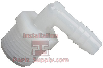 "1/2""x1/2"" Barb x MPT 90° Elbow, White, Nylon"