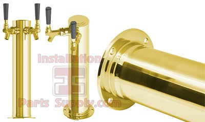 "3"" Diameter 2 Faucet Beer Draft Arm/Column Tower Polished Brass"