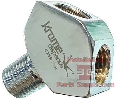 "1/4"" MPT x 1/4"" FPT x 1/4"" FPT WYE Fitting CO2 Splitter Chrome C259"