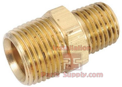 "1/2""x3/8"" MPT x MPT Reducing Hex Nipple Brass"