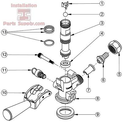 d&s coupler o-rings keg coupler probe | krome c704.03 double tap diagram