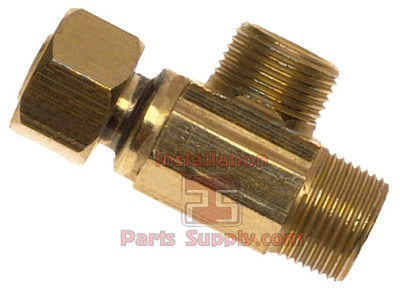 "3/8"" Female Compression x 3/8"" Compression x 1/4"" Compression Outlet Lead Free Brass Max Adapter"
