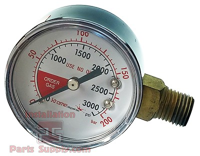 "Pressure Gauge, 3000psi, 1/4"" MPT, RHT, Right Inlet, 2"" Face"