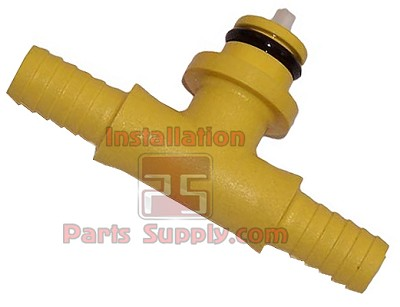 "1/4"" (6mm) Barb Plastic Tee w/ Check Yellow CO2 Fitting (84-078-02)"