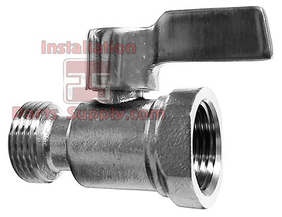 "Beer Shutoff Valve (5/8"" BSPT) FBT x MBT Rigid 304 Stainless Steel"