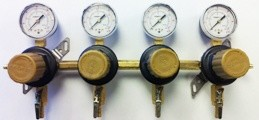 "Secondary CO2 Regulator 4P4P Beer Gas 5/16"" Barb In/Out Pass Thru 5/16"" Barb Shut-off 60# Gauges Wall Mount Taprite"