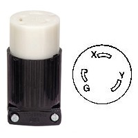 30A, 250V Twist Lock Connector NEMA L6-30R Connector