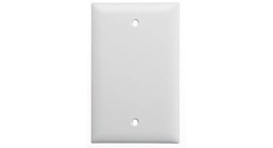 Wall Plate, Blank, White, Single Gang