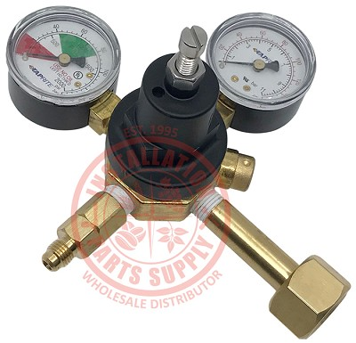 Primary Soda CO2 Regulator, 1P1P, CGA320 Inlet, 1/4 Flare Out w/Ck, 160# & 2000# Gauges x2 Tank Mount
