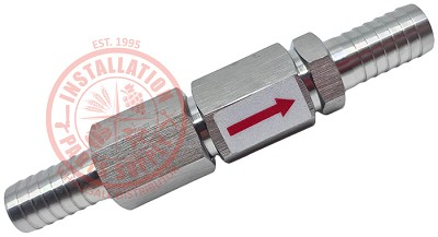 "3/8""x3/8"" Barb x Barb Double Check Valve Stainless Steel S470D-H6H6"
