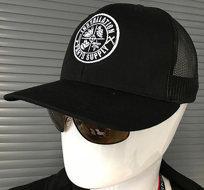 Snapback Trucker Hat Black/Black White Reticle Logo Embroidered Richardson 112 One Size Fits Most